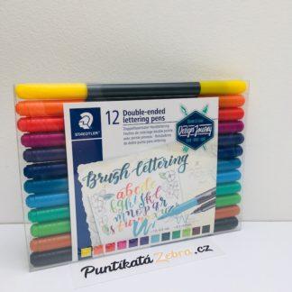 Brush lettering fixy 12 barev Staedtler Puntikata Zebra