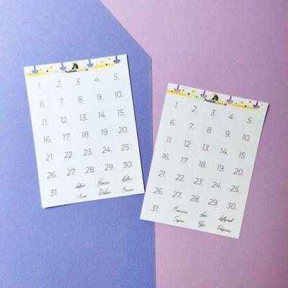 Samolepky datumy a mesice